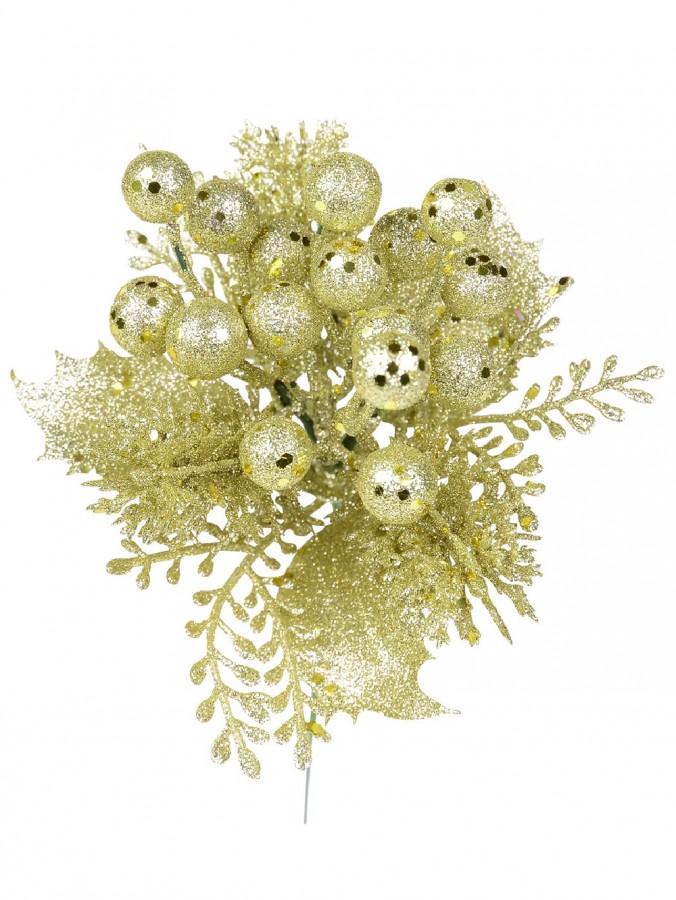 Champagne Glittered Decorative Berry Floral Pick With Twigs & Leaves - 20cm