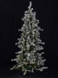 d9fcacac1 Slimline Flocked Christmas Tree With Pinecones   Warm White Lights - 1.8m