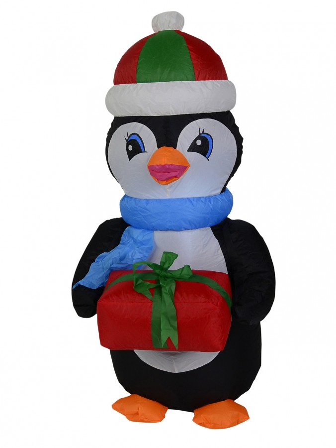 Standing Penguin With Gift Illuminated Inflatable - 1.3m