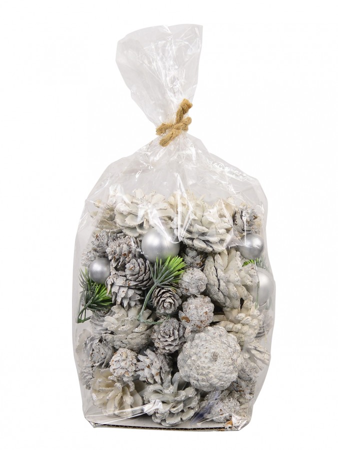 Bag Of Assorted White Glittered Pine Cone Decorations - 300g
