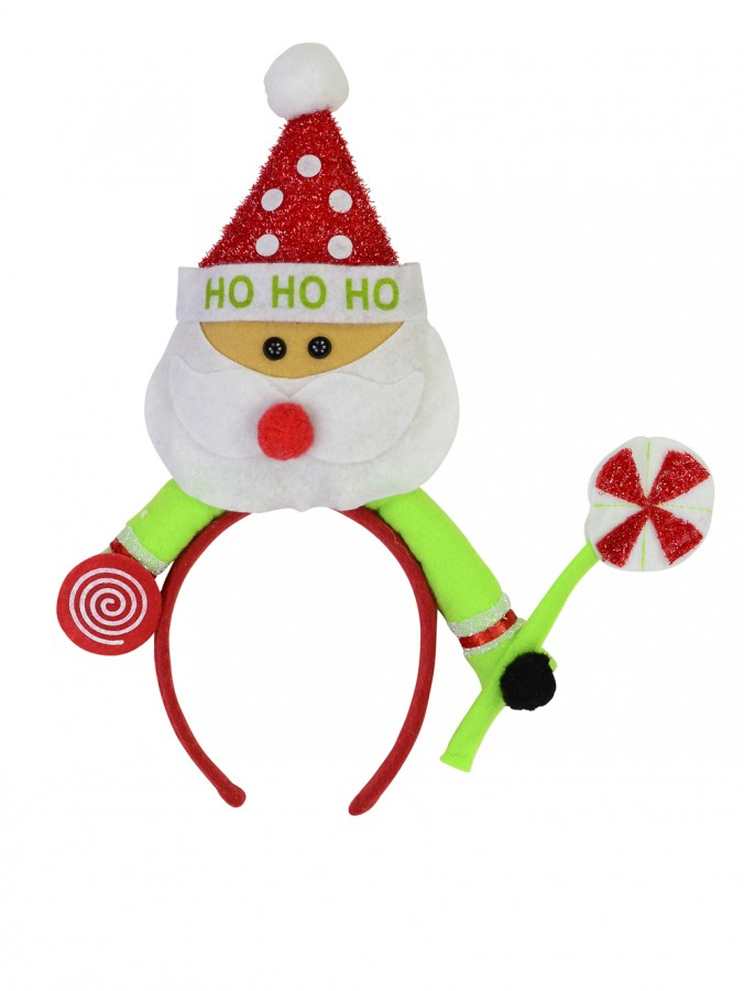 Red Headband with Santa Holding Lollypop - 34cm