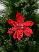 Red Frosted Two Leaf Style Decorative Poinsettia Floral Pick - 23cm