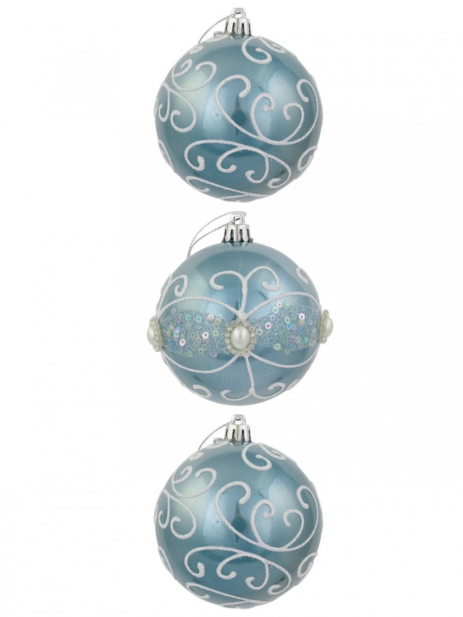 Ice Blue Metallic Baubles With Glitter, Painted Swirls & Sequins - 3 x 80mm
