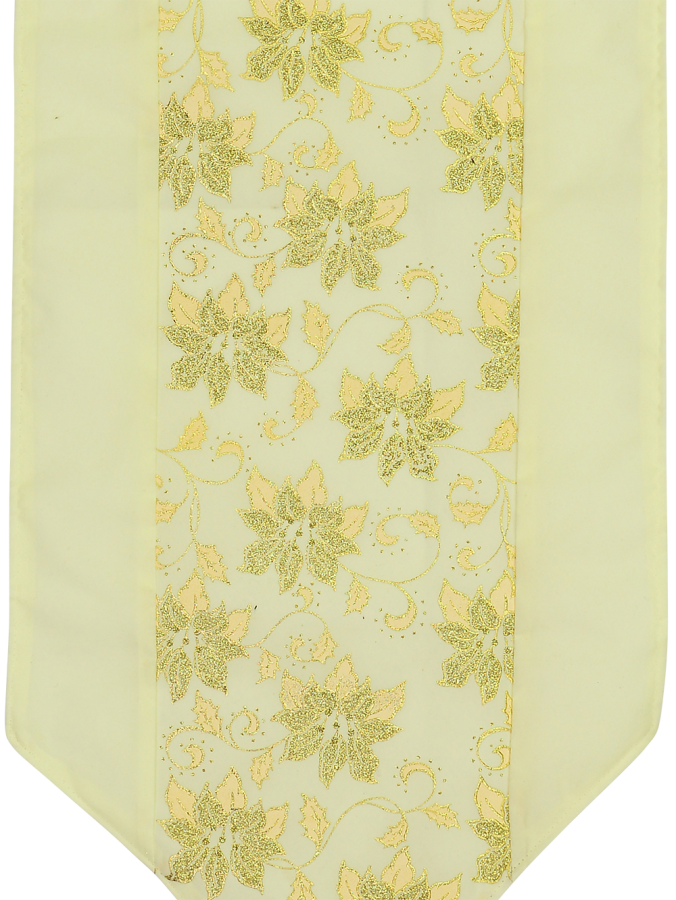 Soft Gold Table Runner With Gold Glitter Flower Design - 1.8m