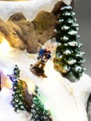 Ski Mountain Village Scene with LED Lights & Moving Figures - 30cm