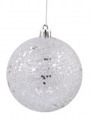 Silver Metallic Sequins & Glitter Coated Baubles - 4 x 80mm