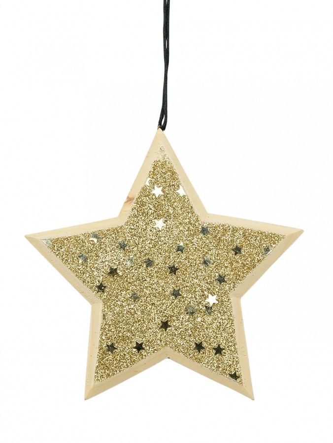 Natural Wood Star With Gold Glitter & Stars Hanging Decoration - 12cm
