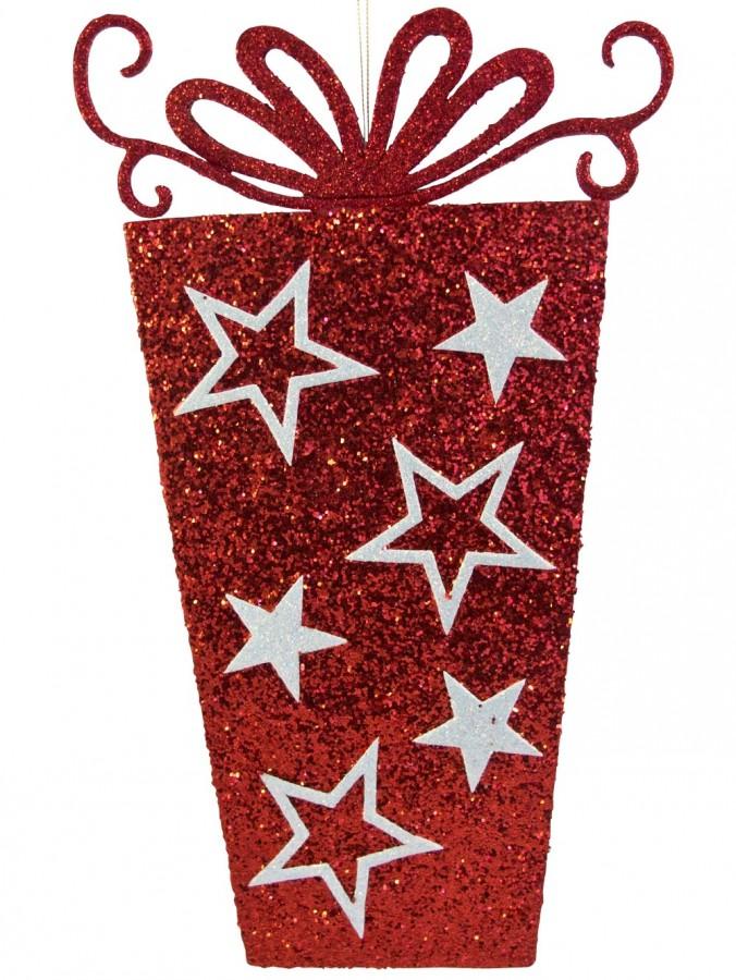 Red Present 2D Display Hanging Decoration - 34cm