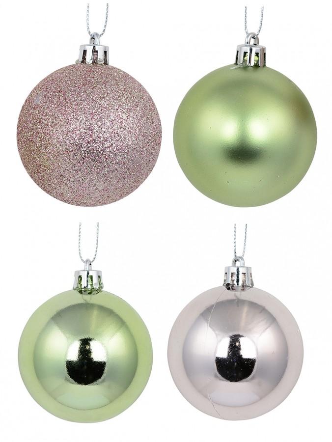 Pink Metallic & Glittered With Mint Green Metallic & Matte Baubles - 12 x 60mm