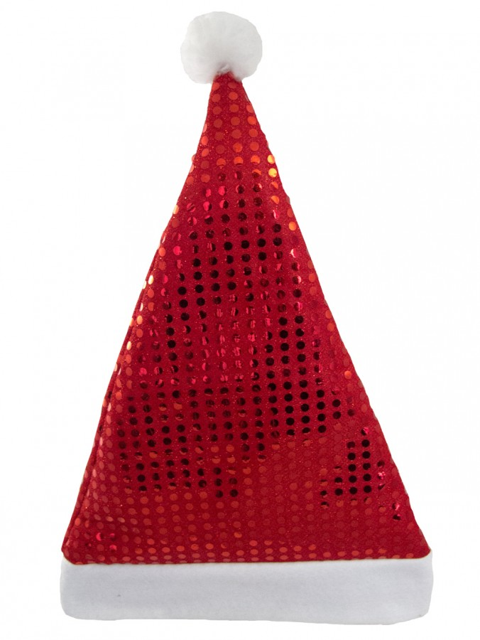 Red Sequins On Red Traditional Christmas Santa Hat - 43cm