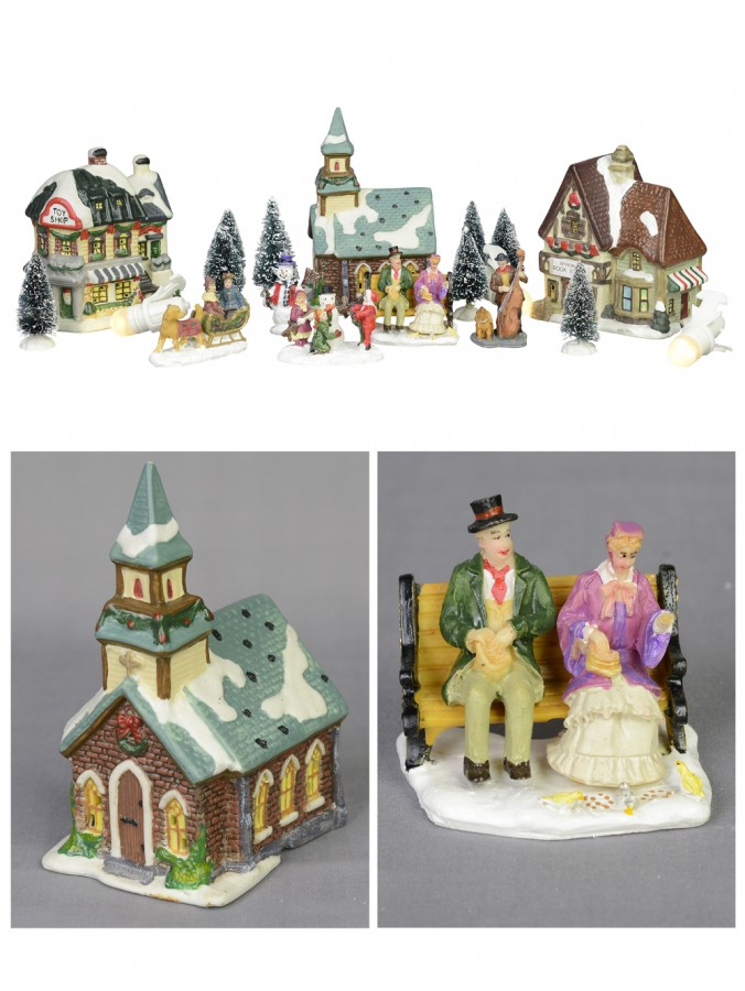 Large Christmas Village Scene With Church, Shops & Figurines - 17 Piece