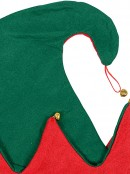 Red & Green Traditional Christmas Elf Hat With Jingle Bells - 31cm