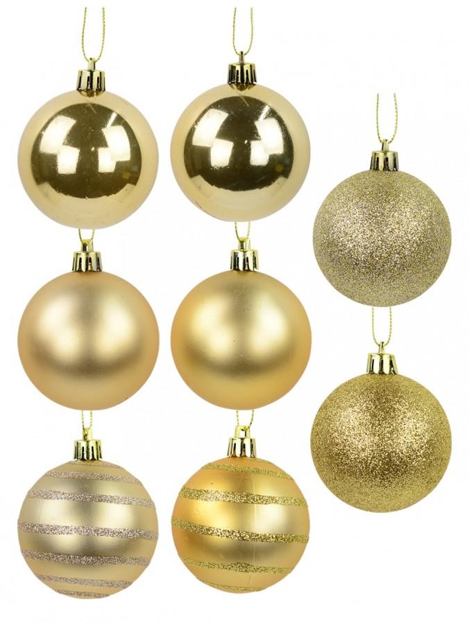 Gloss, Matte, Pearl, Glitter & Striped Gold & Champagne Baubles - 64 x 60mm