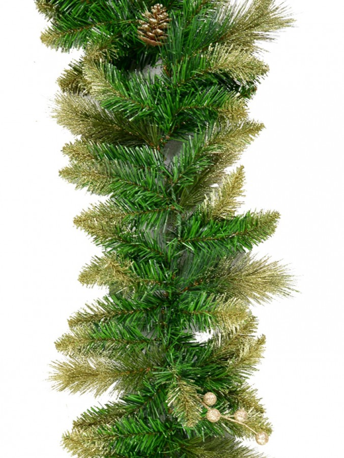 Balsam Pine Garland With 193 Gold Glittered Tips, Pine Cones & Berries - 2.7m