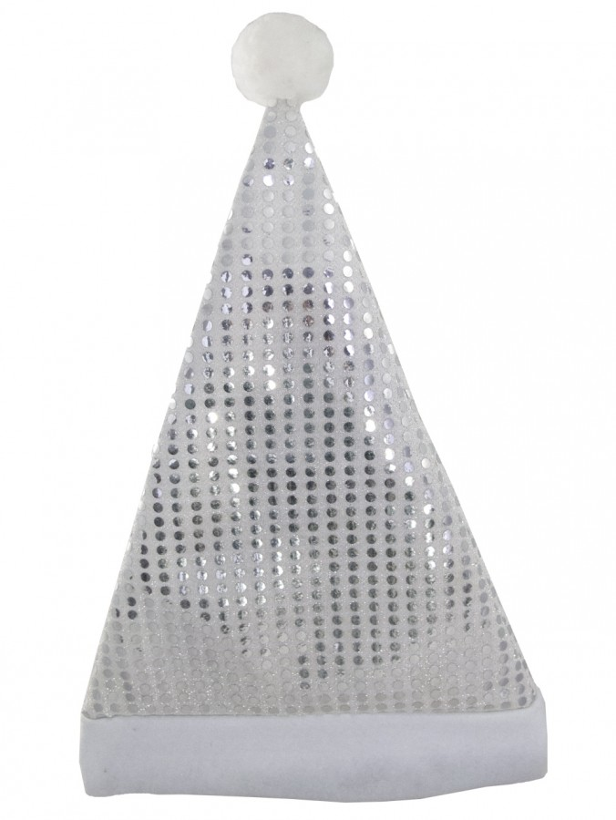 Santa Plush Silver Hat With Sequins - 43cm