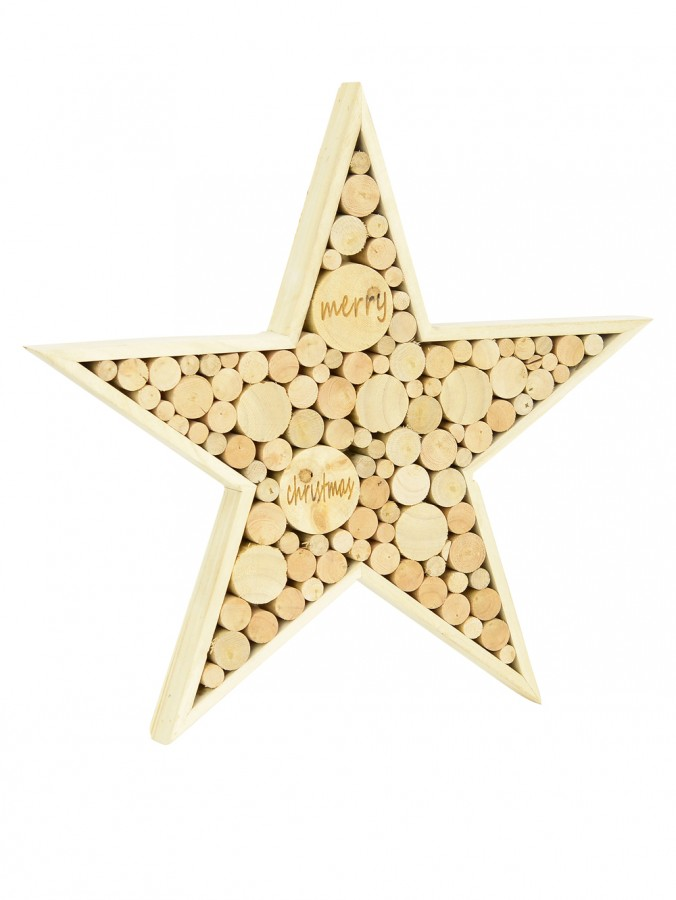 Natural Wood Star Standing Ornament - 30cm