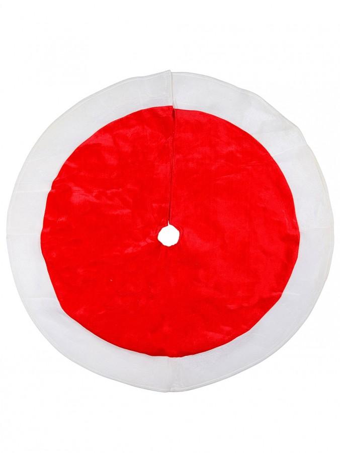 Traditional Red With White Trim Velvet Christmas Tree Skirt - 1m