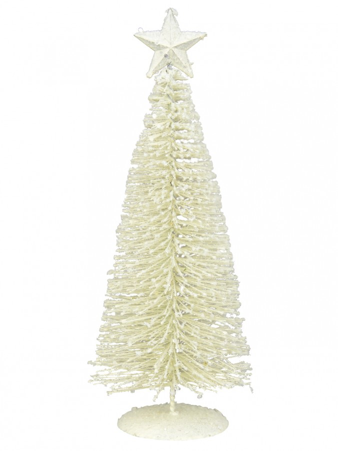 White Iron Christmas Tree With Snow Dust & Star Table Top Ornament - 30cm