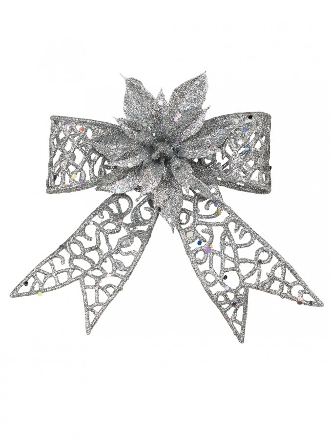 Silver Glittered Mesh Look Ribbon Bow Decoration With Poinsettia - 15cm