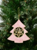 Dusty Pink Velvet Tree With Poinsettia Centre Hanging Decoration - 15cm