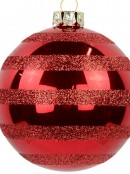 Festive Red Gloss Baubles With Glitter Stripes - 6 x 70mm