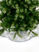 White With Silver Sequin Vine Pattern & Fur Trim Scallop Shape Tree Skirt - 1.2m