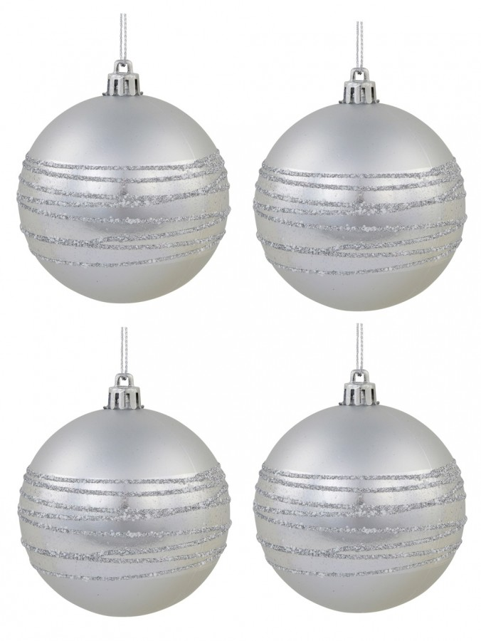 Silver Matte Baubles With Thick Shiny & Thin Glittered Stripes - 4 x 80mm