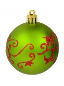 Various Green & Red Baubles With Plain & Glittered Patterns  - 9 x 60mm