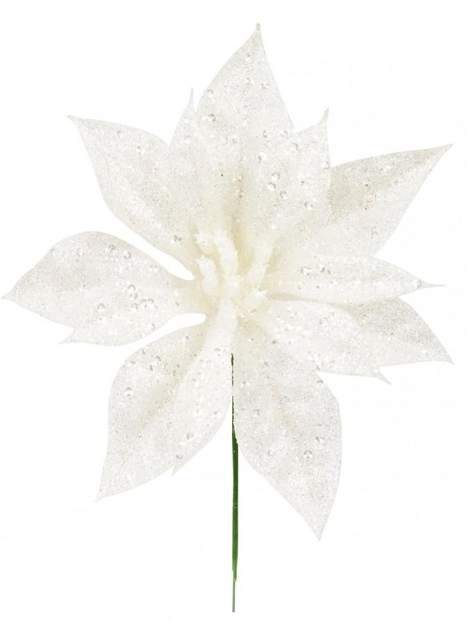 White With Silver Glitter Decorative Poinsettia Floral Pick - 17cm