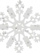 Glittered Thin White Snowflake Christmas Tree Hanging Decorations - 12 x 10cm