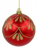Metallic Red Baubles With Gold Glitter Pattern - 4 x 80mm
