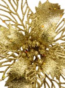 Gold Two Leaf Style Glittered Decorative Poinsettia Floral Pick - 18cm
