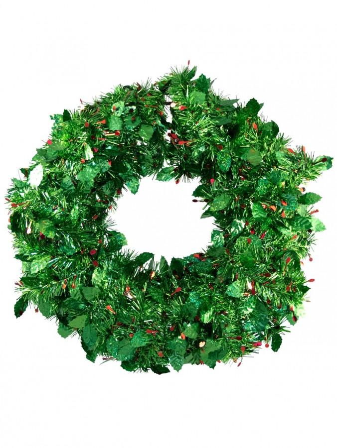 Holly leaf berry tinsel wreath cm garlands