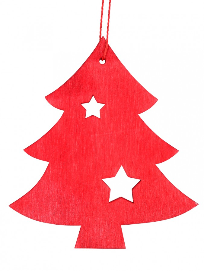 Red Natural Wood 2D Tree With Star Hanging Decoration - 12cm