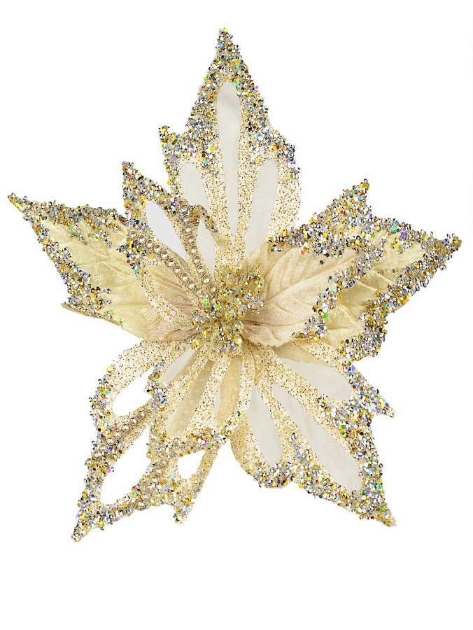 Soft Gold Poinsettia Pick With Clip & Diamante Detail - 32cm