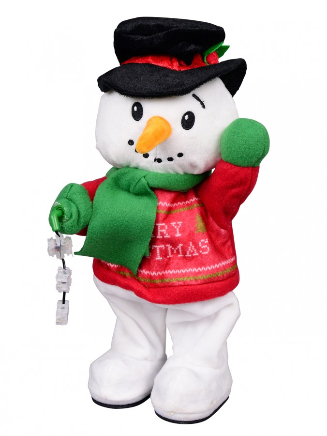 Animated Hip Swinging & Snowflake Spinning Snowman - 40cm