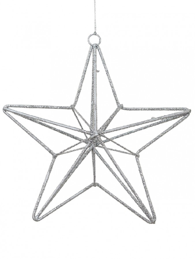 Silver Glittered 3D Wire Framed Star Christmas Tree Hanging Decoration - 16cm