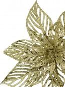 Pale Gold Glittered Decorative Poinsettia Floral Pick - 15cm