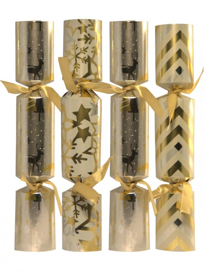White, Silver & Gold Multi Pattern Bon Bons - 12 X 25cm