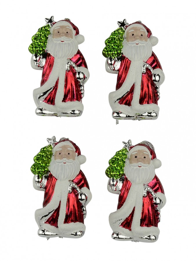 Metallic Santa Hanging Decorations - 4 x 90mm