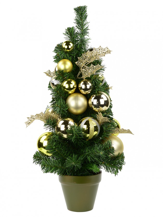 Pre-Decorated Gold & Champagne Bauble Pine Table Top Tree - 64cm