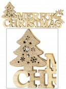Natural Wood Merry Christmas Sign with Champagne Glittered Tree & Deer - 35cm