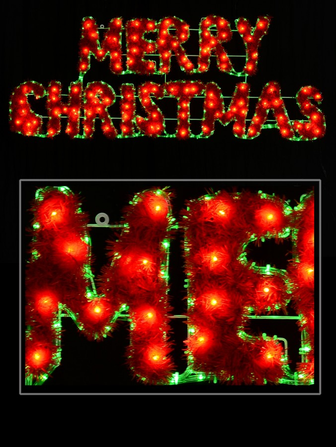Merry Christmas With Border LED Rope Light Silhouette - 1.6m