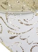 Gold Glitter Edged & Swirl Pattern Cream Sheer Christmas Ribbon - 3m