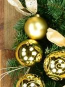 Decorated Gold & Champagne Bauble & Leaf Stem Pine Centrepiece - 60cm