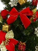 Decorated Red, Green & Gold Mixed Foliage & Floral Pine Table Top Tree - 60cm