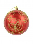 Watermelon Red Metallic Baubles With Gold Glitter Bow Designs - 4 x 80mm