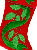 Red Velvet With Green Bow & Mistletoe Applique Christmas Stocking - 42cm