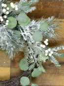 Pre-Decorated Wire Spun Winter Wreath With Mixed Flocked Foliage - 65cm