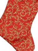 Red Velvet Stocking With Gold Glittered Pattern  - 52cm
